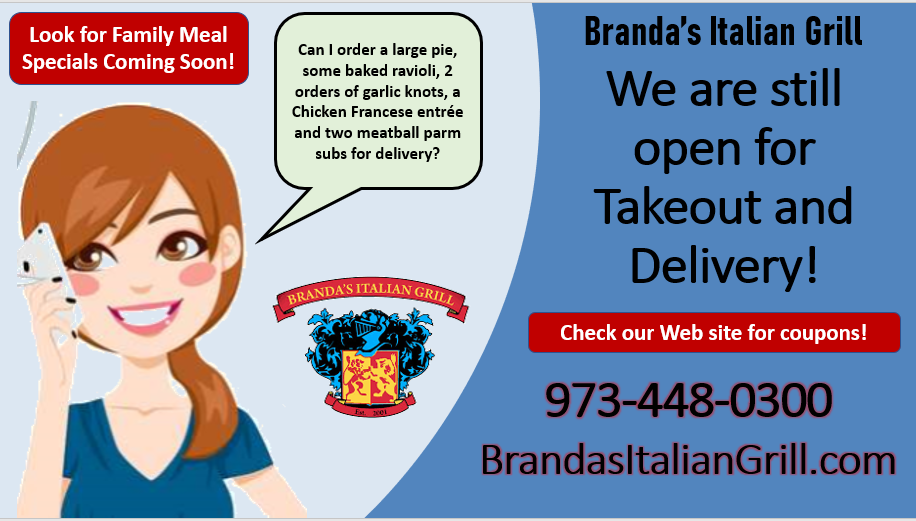 brandas italian grill pizza italian food dinner delivery takeout budd lake flanders nount olive nj 2